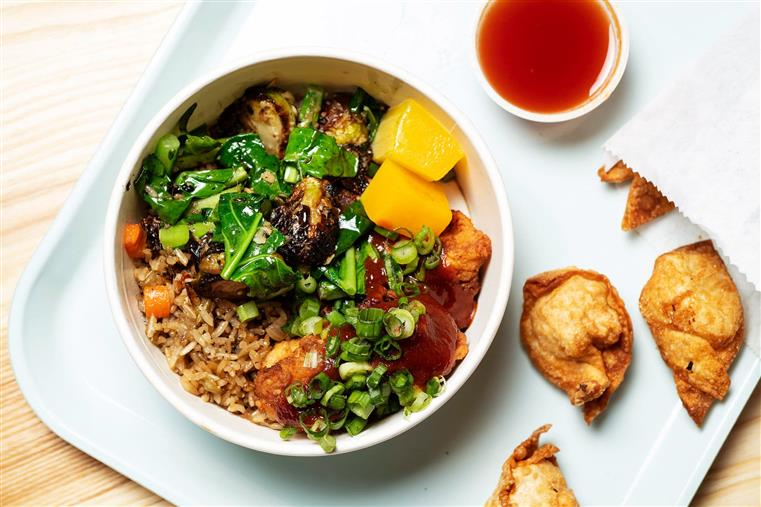 SALMON rice bowl with China Black Pineapple Fried Rice, Piri Piri sauce