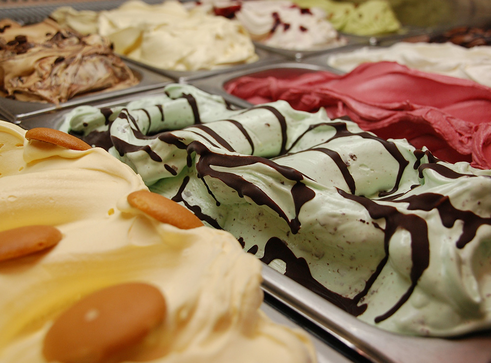 various flavors of gelato in display case
