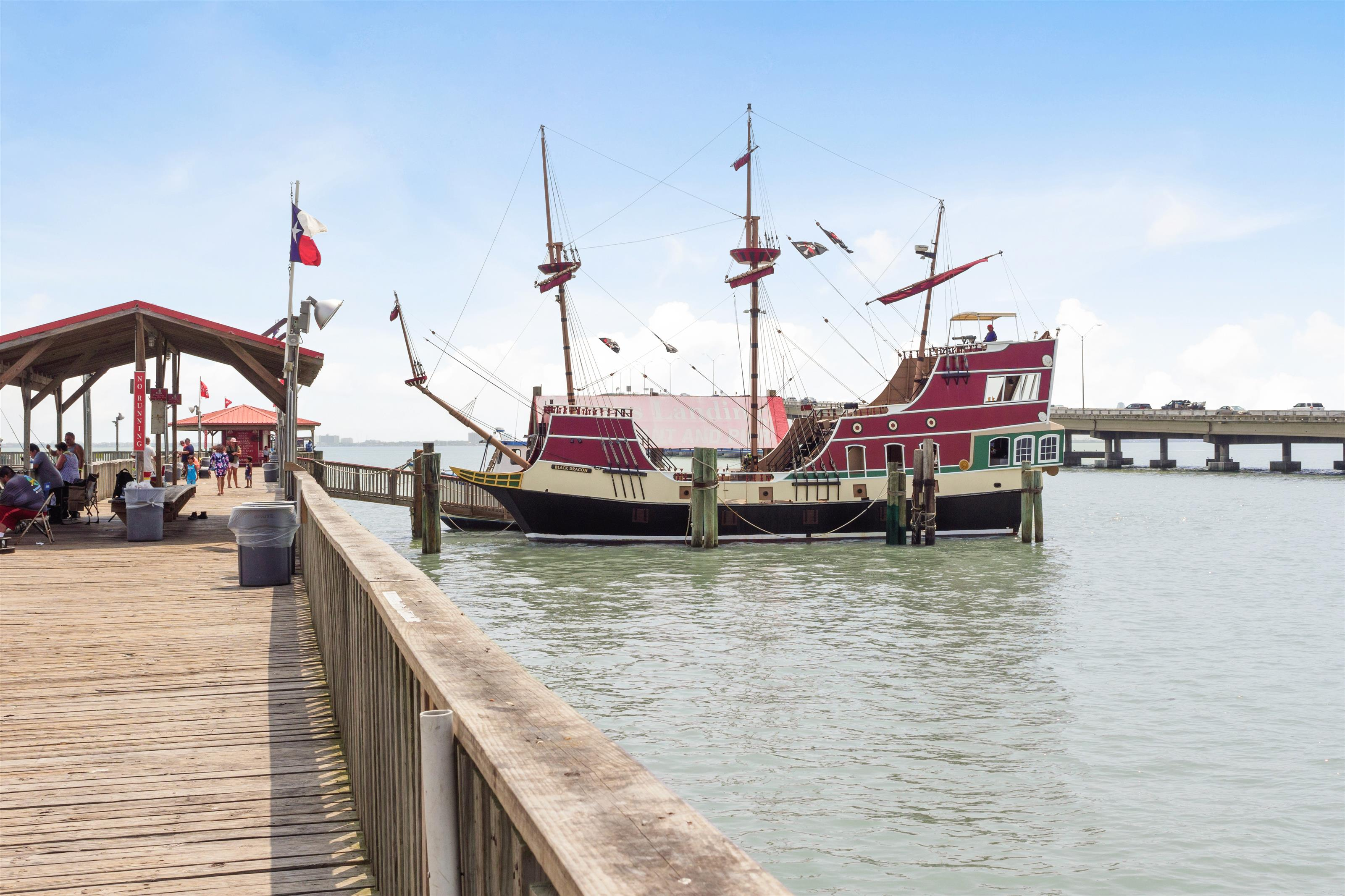 """The Dragon"" Pirate ship docked at the pier"