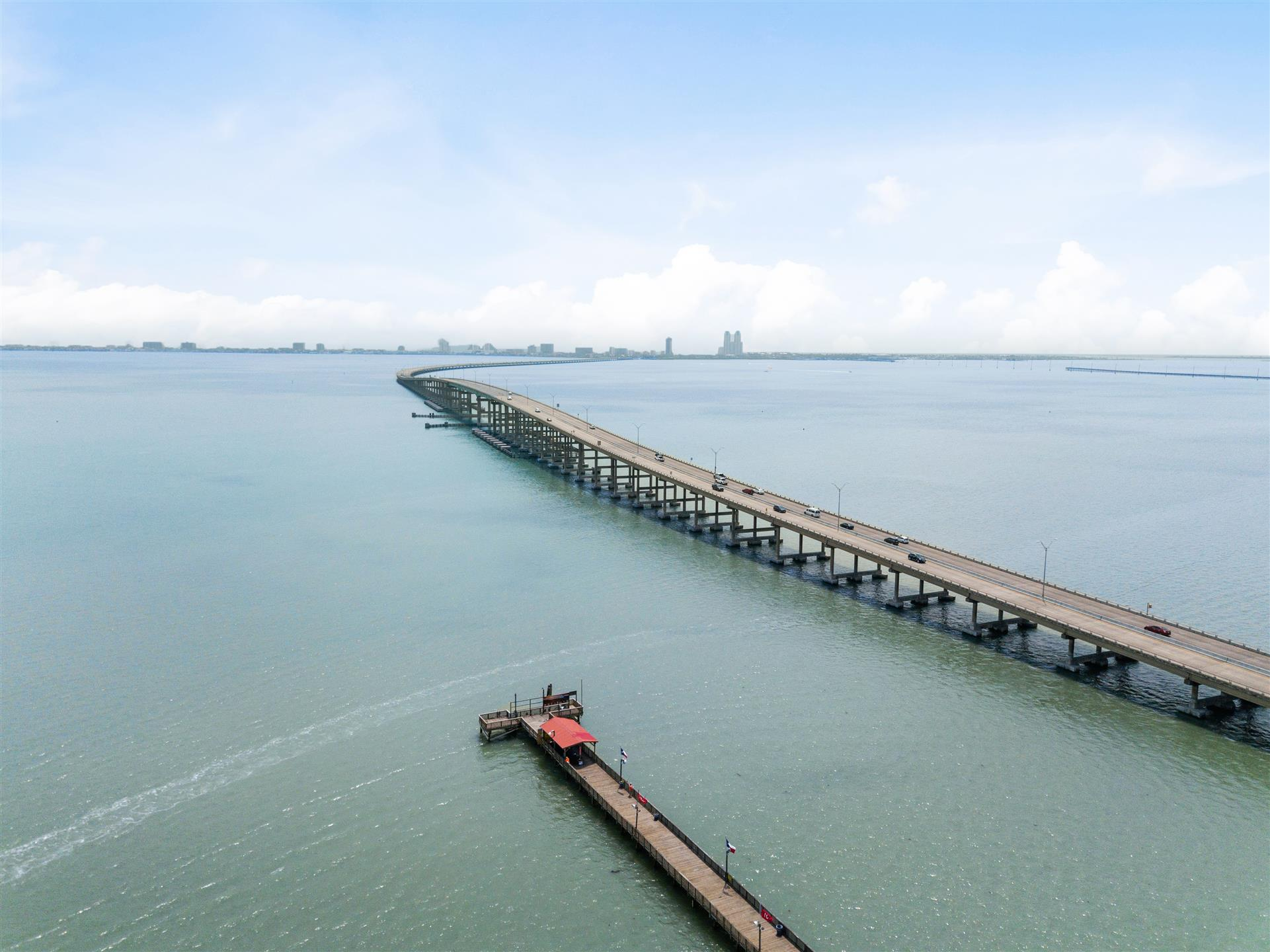 aerial view of Pirate's Fishing Pier and the Causeway