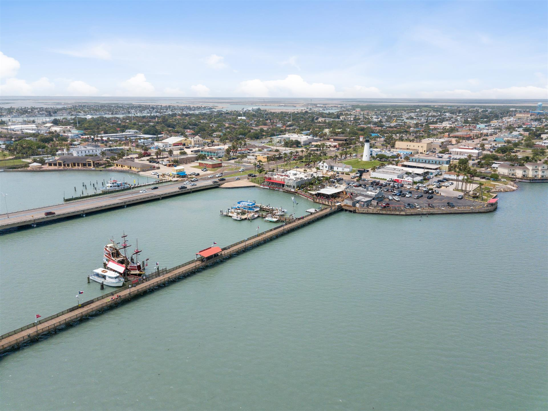 panoramic aerial view of Pirate's Fishing Pier and the Causeway