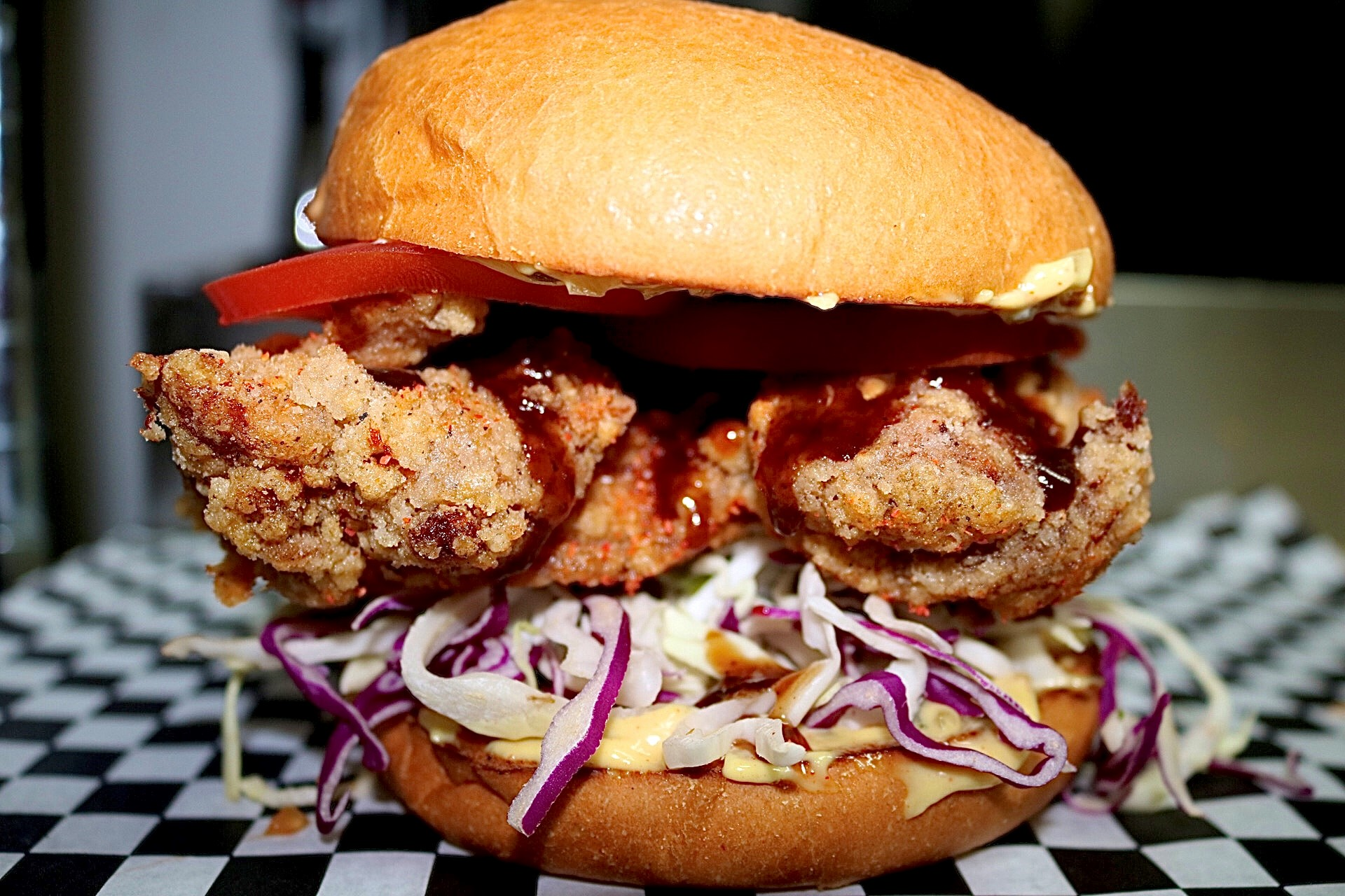 THE OTHER GUYS – Karaage Chicken, Shredded Cabbage, Tomatoes, Dried Chili Blend, MK Sauce, Tonkatsu Sauce