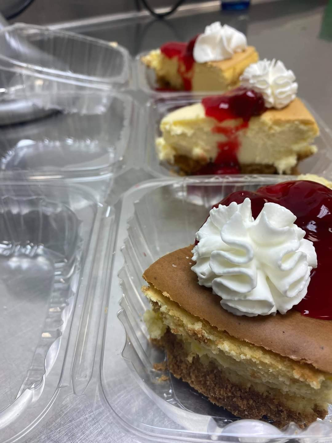 cheesecake in plastic to-go containers