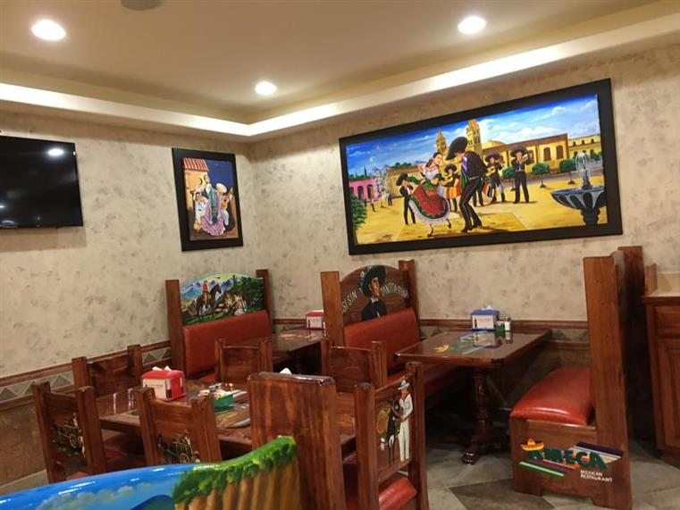 booth in the dining room at Ameca Mexican Restaurant