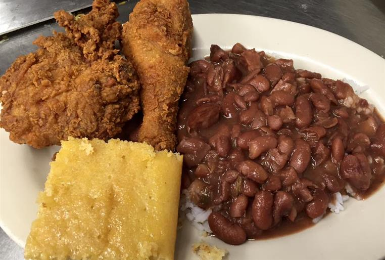 Fried Chicken, red beans, rice, salad & corn bread