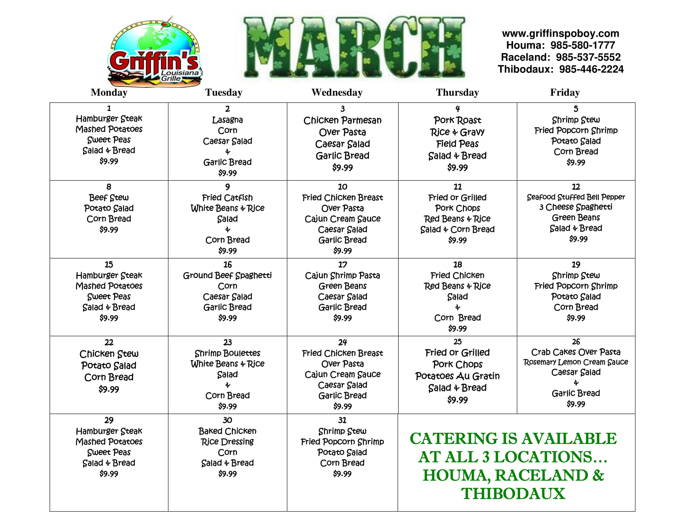 March Specials. Readable version available by clicking button or image.