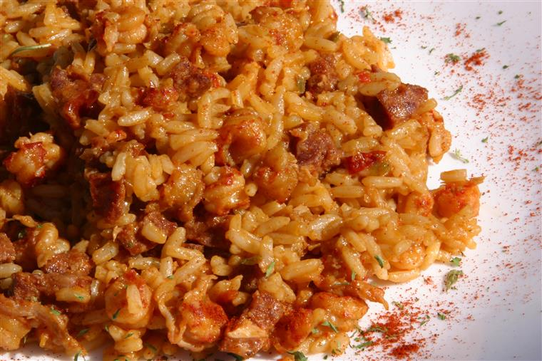 jambalaya with shrimp, chicken, sausage, rice, and spices