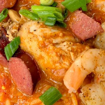 gumbo with chicken, sausage, shrimp and scallions