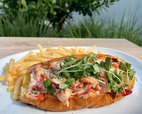 lobster roll sandwich with french fries