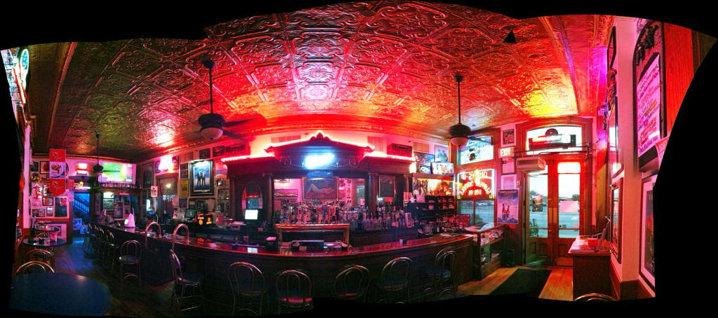 the front bar of the slippery noodle with neon lights