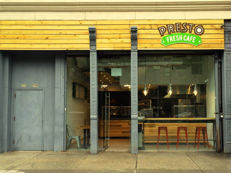 The front entrance of Presto Fresh Cafe