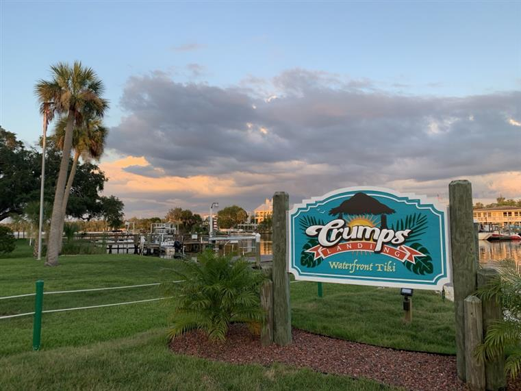 Crump's Landing sign outside of the restaurant