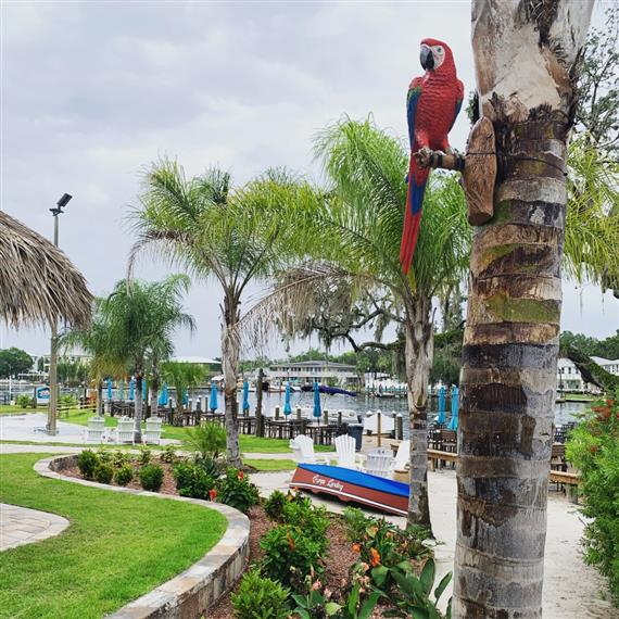 fake macaw parrot on a palm tree