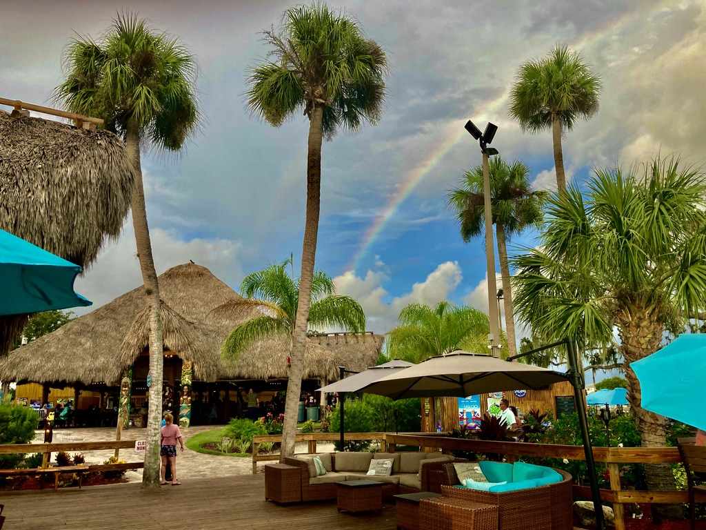 exterior of crumps with palm trees and a rainbow
