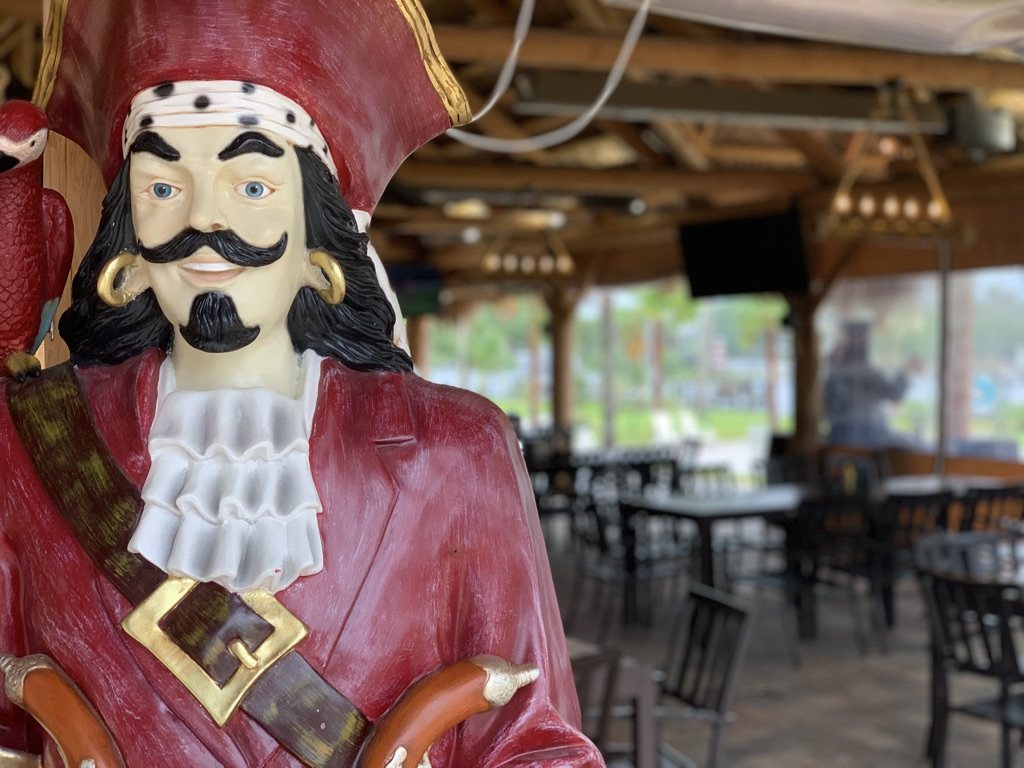 pirate statue inside crumps