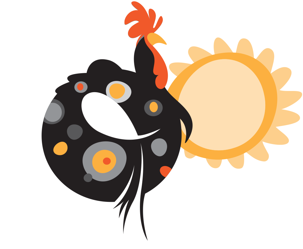 Rooster and sun illustration