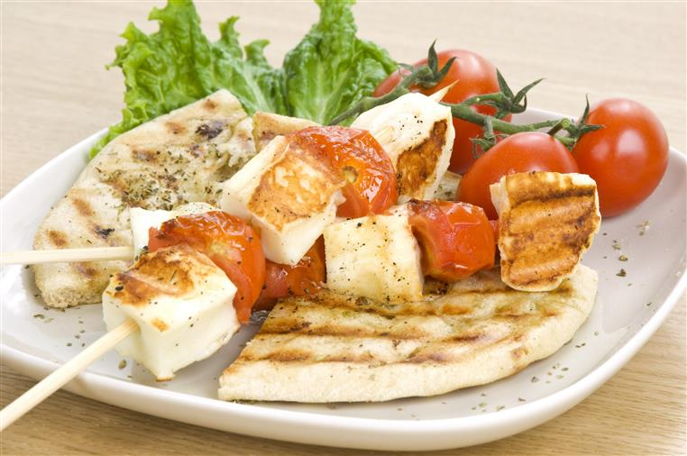 Chicken Kabob: Chargrilled marinated chicken skewers with mixed vegetables and basmati rice