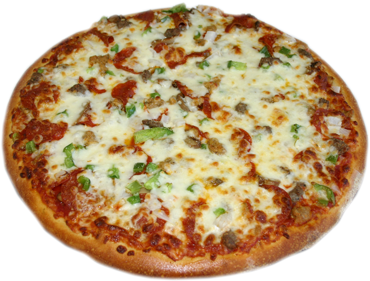 supreme pizza: pizza pie topped with peppers. mushrooms, and onion