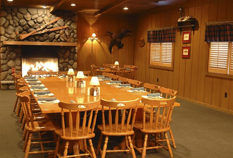 banquet room large table with the fire place