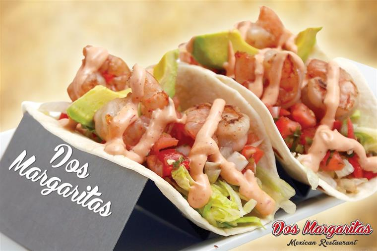 shrimp tacos with lettuce, tomato, avocado and chipotle mayo