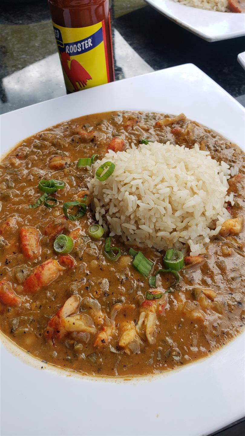 Gumbo topped with rice