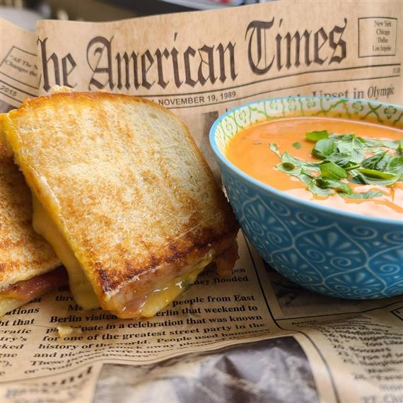 Grilled cheese and soup from the menu at The Spot on Mill Street in Occoquan, VA