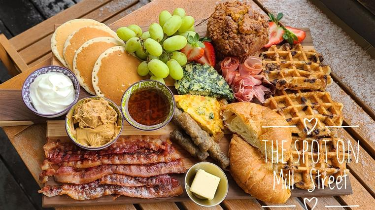 Bruch Platter for a family of 4.  Served on Sundays only.  Includes pancakes, waffles, bacon, miffons and more.