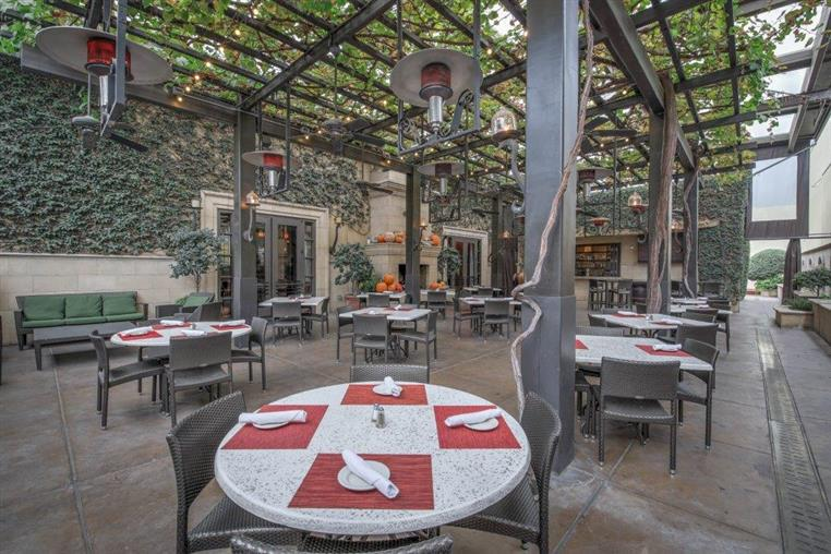 The outdoor vine patio with tables set