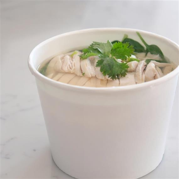 CHICKEN & RICE SOUP: Organic chicken, baby spinach and choice of rice served in chicken soup.