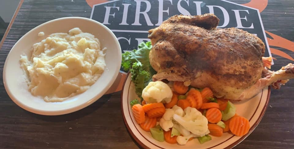 roasted chicken with vegetables and mashed potatoes