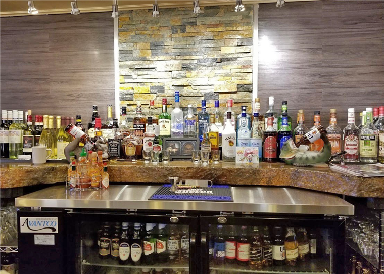 The inside of the bar area
