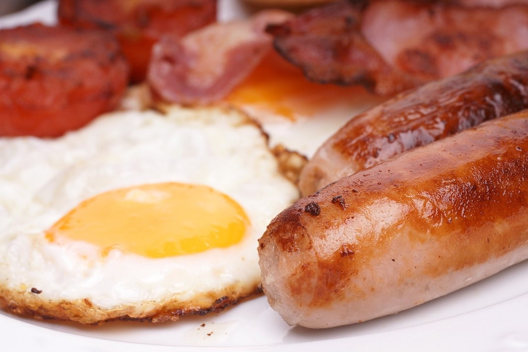 eggs, bacon and sausage