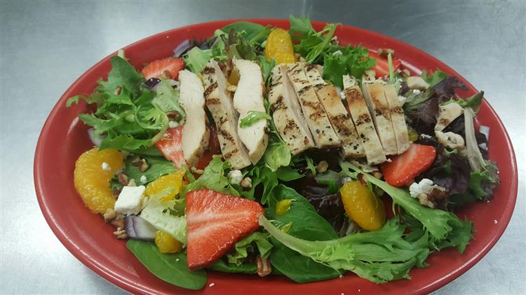 salad with friut and grilled chicken