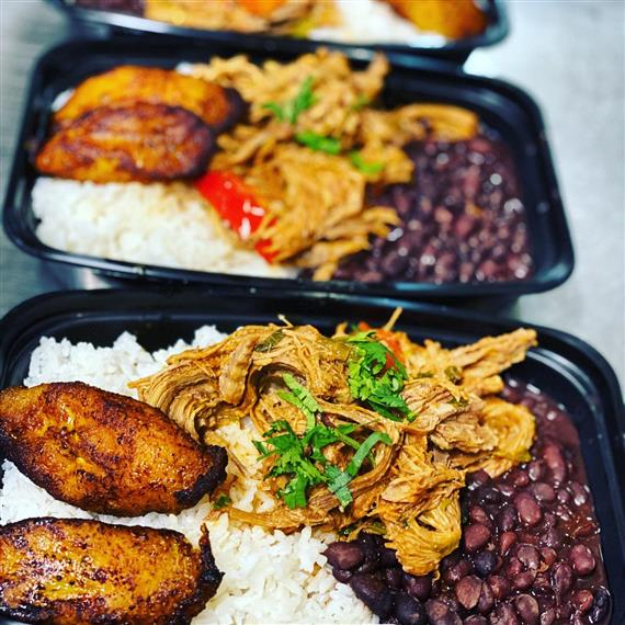 meals of pulled pork, rice and beans