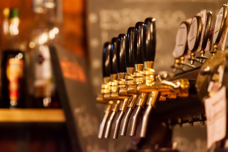 beer taps lined up