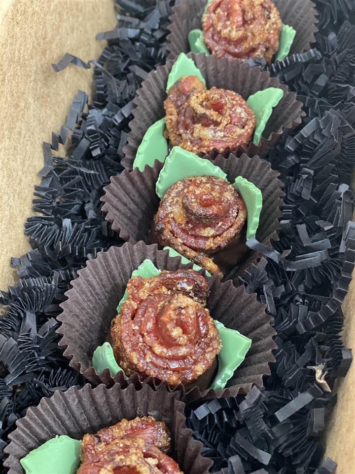 Candied Bacon Roses dipped in Chocolate