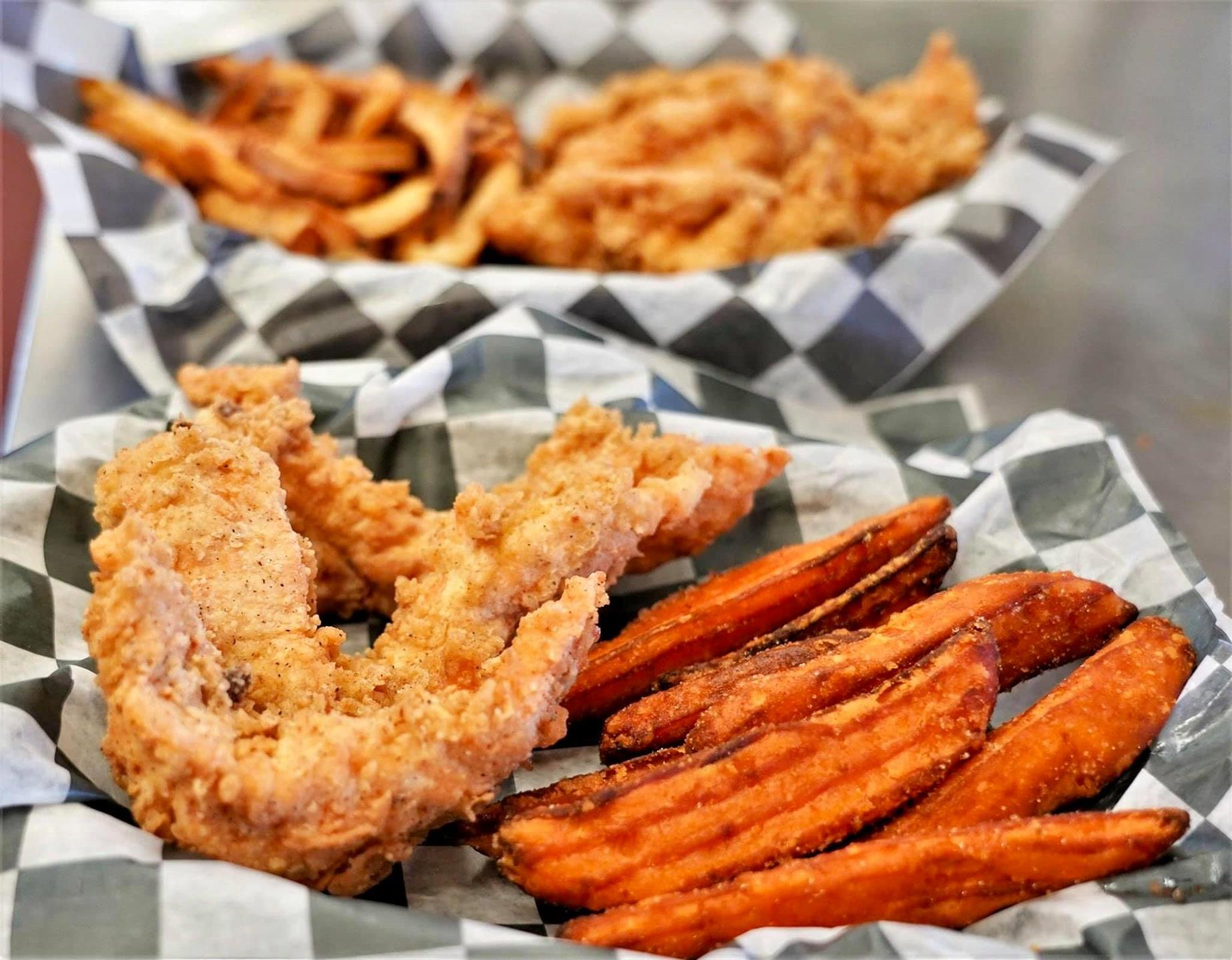 fried catfish with sweet potato fries