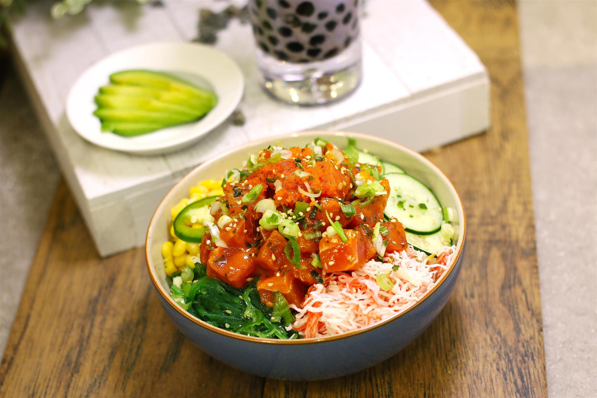 poke bowls on a table