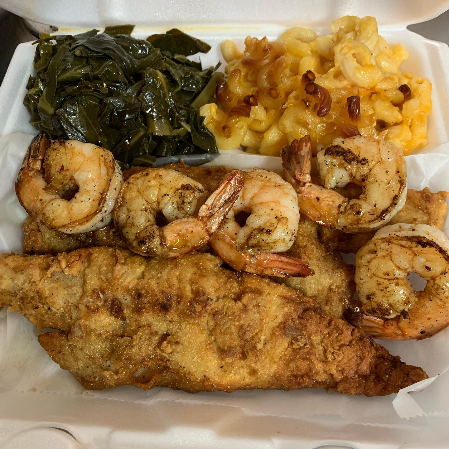 fried fish platter with grilled shrimp, collard greens and mac salad