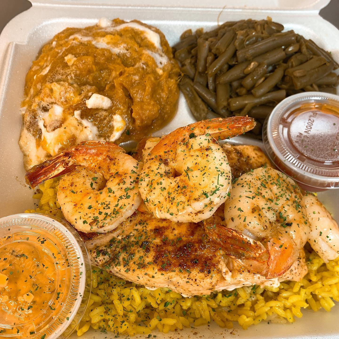 salmon and shrimp over rice with green beans and sweet potato casserole