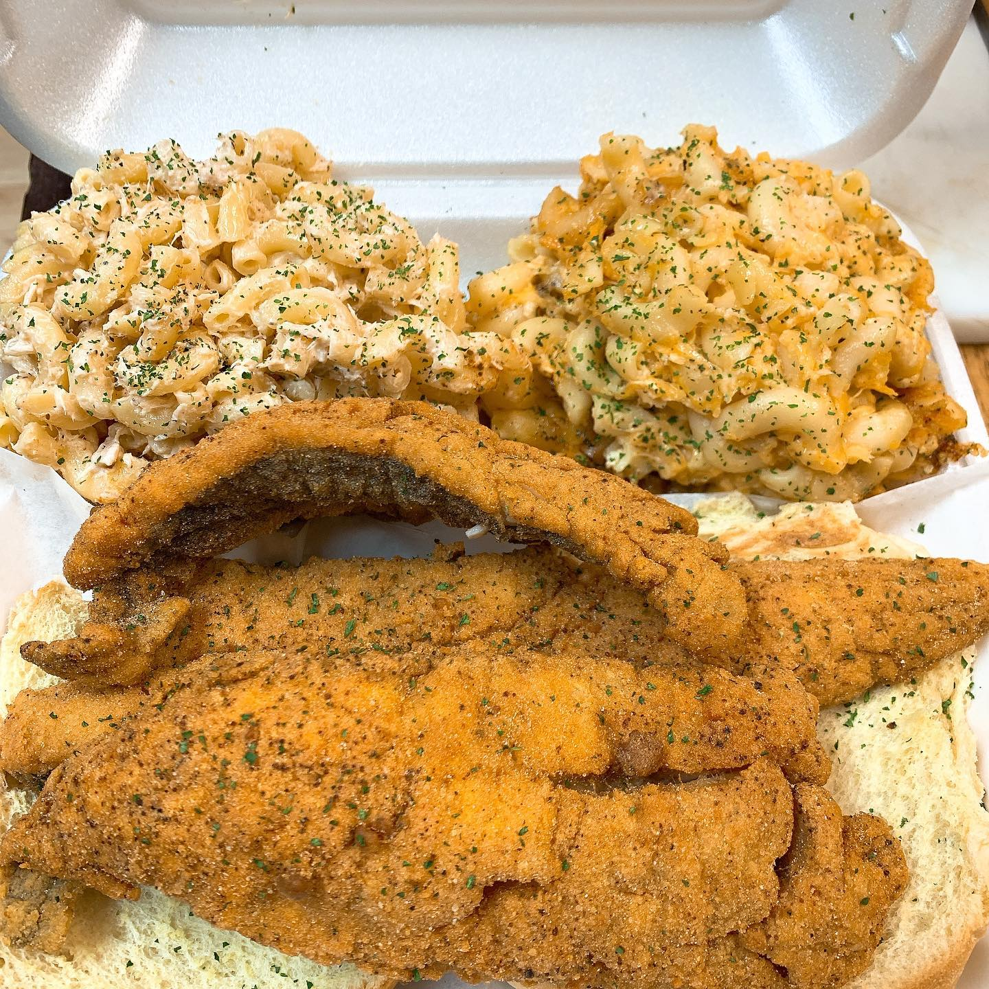 fried fish platter with mac salad