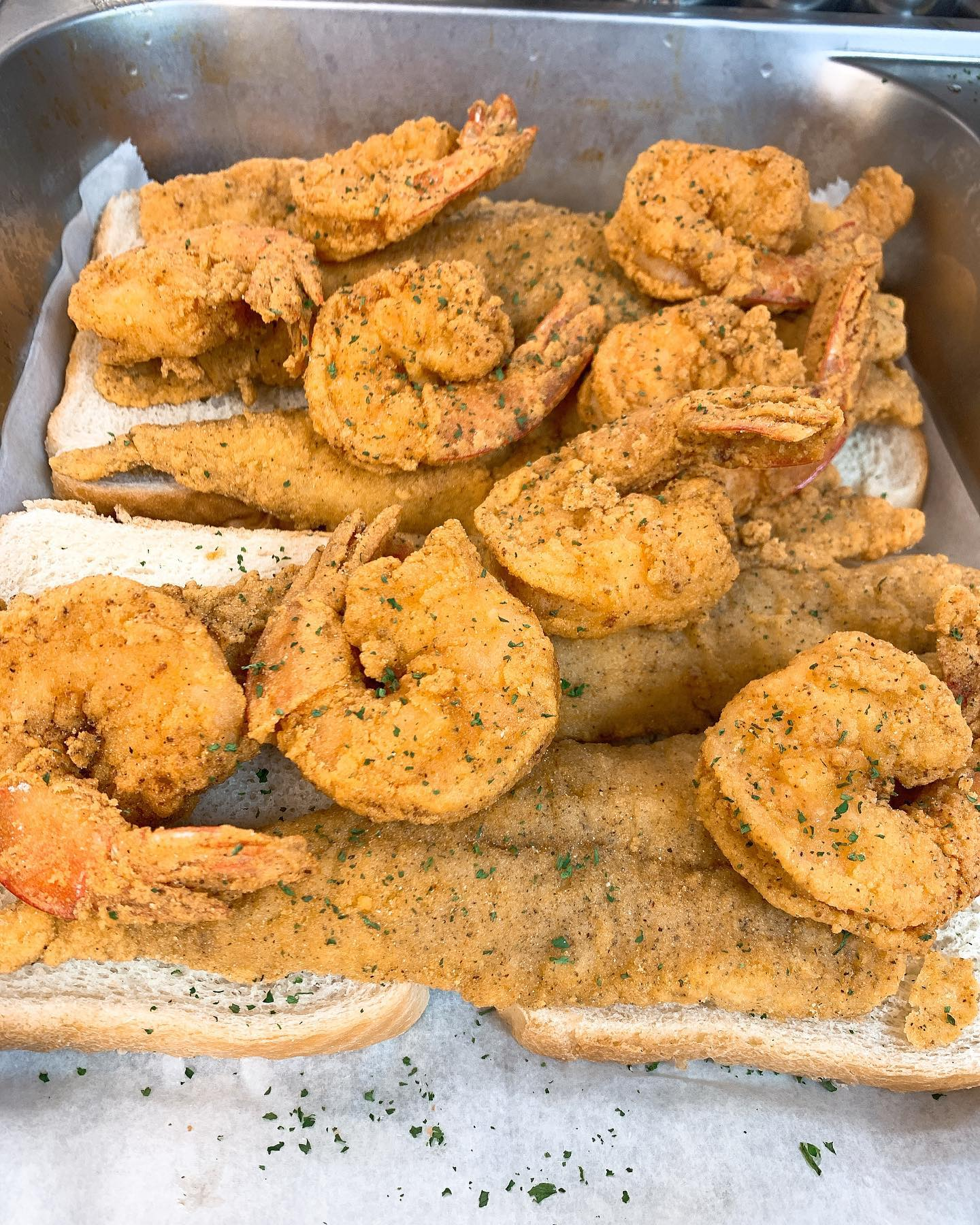 fried fish and shrimp platter