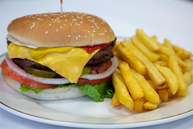 cheeseburger and fries platter