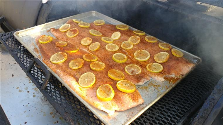 seasoned salmon topped with lemon slices