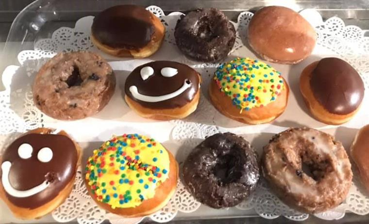 assorted donuts on a tray