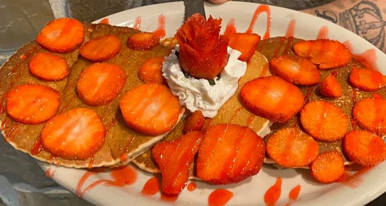 pancakes topped with strawberries