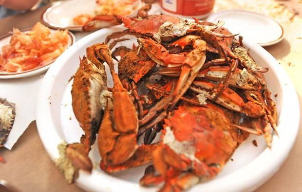 plate of steamed crabs covered in Old Bay