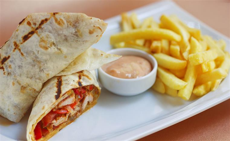 toasted chicken wrap with french fries