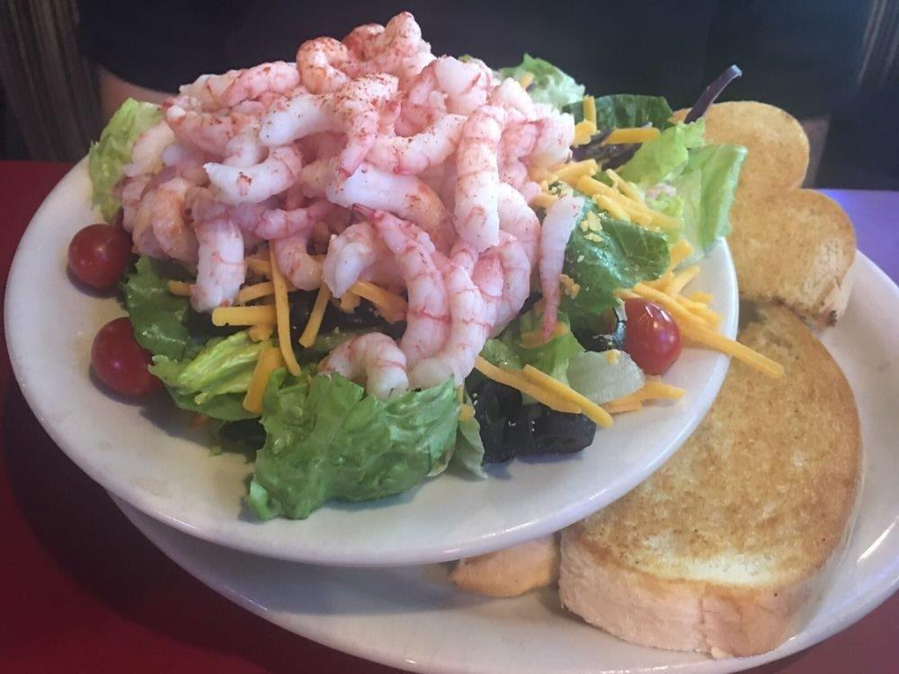 shrimp salad served with toast