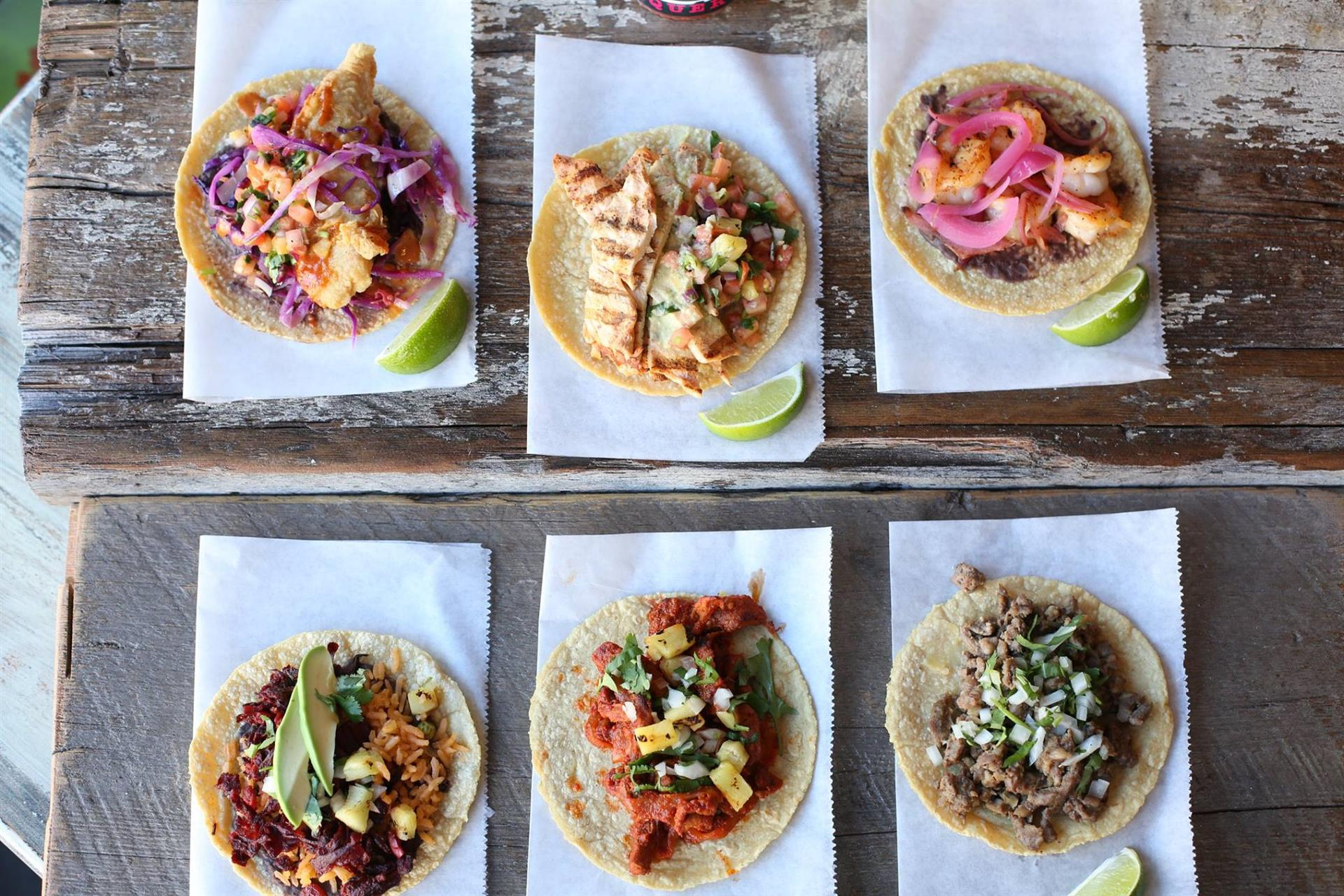 assortment of Tacos on a table